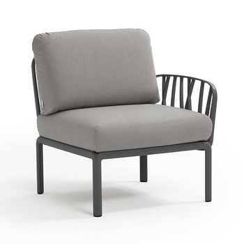 Кресло модуль правый / левый с подушками Nardi KOMODO ELEMENTO TERMINALE DX/SX ANTRACITE-grigio 40372.02.163