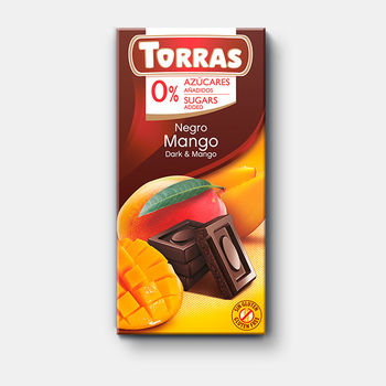 Ciocolata neagra cu mango Torras f/a zahar,  f/a gluten Torras 75g