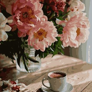 "PN4745 Картина по номерам  Artissimo ""Кофе в комфорте"", 4 *, 24 цвета, 40x50 см"