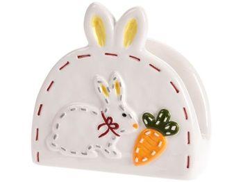 """Держатель для салфеток """"Кролик с морковкой"""" 9X9X4сm, керамик"""