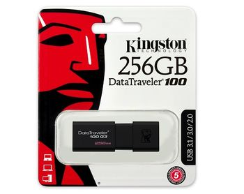 256GB USB3.0  Kingston DataTraveler 100 G3 Black, Retractable USB connector, (Read 130 MByte/s, Write 12 MByte/s)