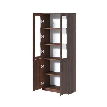 Office Line №2 Шкаф закрытого типа со стеклом Орех Темный