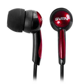 SVEN SEB-130, Earphones, 20-20000Hz, 32ohm, 106dB, 1.2m, L-shaped connector, Tangle-free flat cable, Black/Red