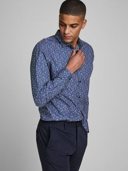Рубашка JACK&JONES Синий с принтом 12168452