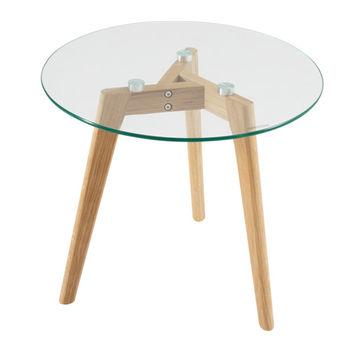 cumpără Măsuţă rotundă cu picioare din lemn şi suprafaţa din sticlă, 500x450 mm în Chișinău