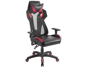 Lumi Gaming Chair Back Breathable Mech with Headrest CH06-8, Black/Red, Height Adjustable Armrest, 350mm Nylon Base, 60mm Nylon Caster, 100mm Class 3 Gas Lift, Weight Capacity 150 Kg