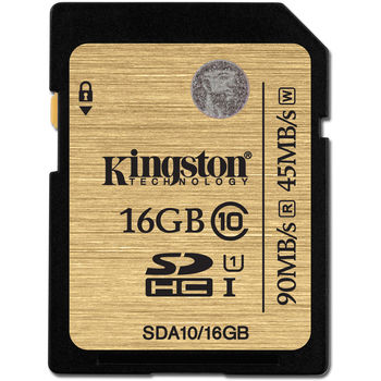 Kingston 16GB SDHC Card Class 10 UHS-I, Ultimate, 600x, Up to:90MB/s