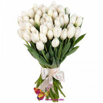 купить 45 Белых тюльпанов в Кишинёве