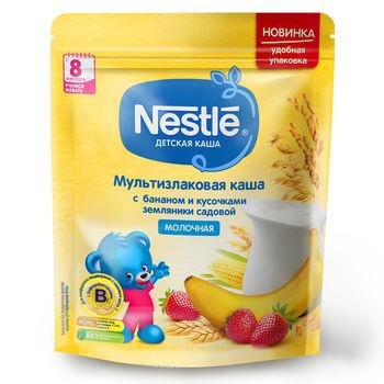 купить Каша мультизлак банан-земляника с молоком Nestle, с 8 месяцев, 220г в Кишинёве