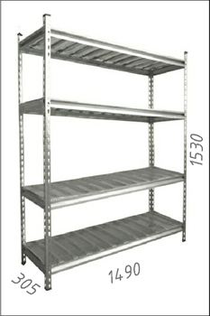Стеллаж оцинкованный металлический Gama Box 1490Wx305Dx1530H мм, 4 полки/МРВ