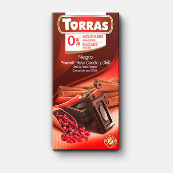 Ciocolata neagra cu piper roz si scortisoara f/a zahar, f/a gluten Torras 75g