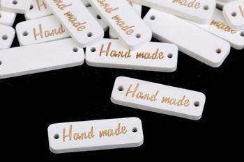 Etichetă din lemn Handmade / alb