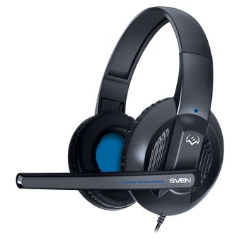 SVEN AP-680MV, Headphones with microphone, Volume control, SVEN PNC passive noise cancelling system, 2.5m, Black/Blue