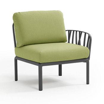 Кресло модуль правый / левый с подушками Nardi KOMODO ELEMENTO TERMINALE DX/SX ANTRACITE-avocado Sunbrella, 40372.02.139