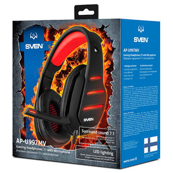 SVEN AP-U997MV, Gaming Headphones with microphone,  External sound card 7.1 (USB), Headphone and microphone LED backlight  Non-tangling cable with fabric braid, Cable length: 2.2m, Black/Red