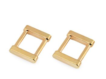 Inel metalic dreptunghiular/Cataramă, lățime 15 mm / auriu