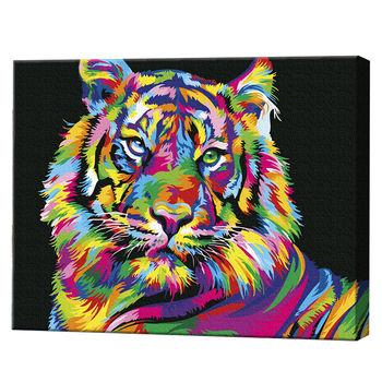 Радужный тигр, 40х50 см, картина по номерам Артукул: GX26176