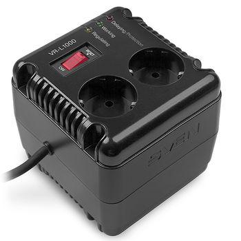 SVEN VR-L1000, 320W, Automatic Voltage Regulator, 2x Schuko outlets, Input voltage: 184-285V, Output voltage: 230V ± 10%, diod indicators on the front panel, plastic body, Black
