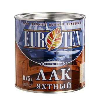 Eurotex Лак Eurotex Яхтный Полуматовый 0.75л