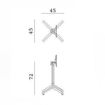 Picior (baza) de masa aluminiu Nardi BASE FRASCA MINI FOLDING vern. agave 53266.00.000