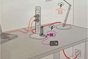 купить Удлинитель электрический Legrand 694619 Bloc Multipriza Mobil Vertical 4x2P+T 2xUSB 1xMicro-USB negru,LR в Кишинёве