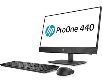 "All-in-One PC - 23.8"" HP ProOne 440 G4 FullHD IPS +W10 Pro, Intel® Core® i3-8100T 3,1 GHz, 4GB DDR4 RAM, 1TB HDD, DVD-RW, CR, Intel® UHD 630 Graphics, FullHD webcam, Fixed Tilt Stand, Wi-Fi/BT5, GigaLAN, 120W PSU, Win10 Pro, USB KB/MS, Black"