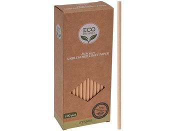 Набор соломок для коктейля бумажных Eco 100шт D0.6cm, коробк