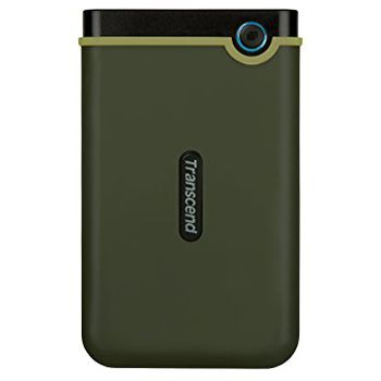 "2.5"" External HDD 1.0TB (USB3.0)  Transcend StoreJet 25M3G Slim, Military Green, MIL-STD-810G 516.6., Durable anti-shock RUBBER outer case,  Advanced internal hard drive suspension system, One Touch Backup, Quick Reconnect Button"