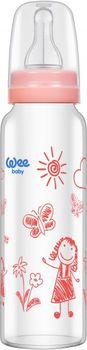 купить Бутылочка стеклянная Wee baby с силиконовой соской 250 мл (0-6 мес) розовая в Кишинёве