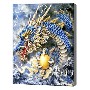 Дракон с золотым яйцом, 40x50 см, aлмазная мозаика