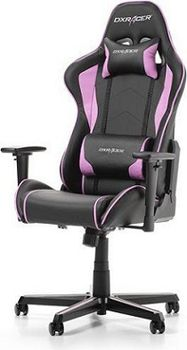 Gaming Chairs DXRacer - Formula OH/FH08/NP, Gamer weight 91kg / height 175cm, PVC/PU Cover-Black/Black/Purple, Foam Density 52 kg/m3, 5-star Inlaid Color Base, Gas Lift 4 Class, Tilt Mech-Angle 135*, Adjustable Arms-3D, Pillow-2, Caster-2, 22kg