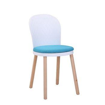 купить Пластиковый стул с мягким сиденьем, деревянными ножками, 400x400x820 мм, белый и синий в Кишинёве