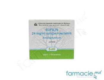купить Эуфиллин р/р д/ин 2,4% 5 ml N5x2(Borisov) в Кишинёве