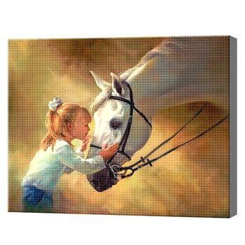 Маленькая девочка и лошадь 40x50