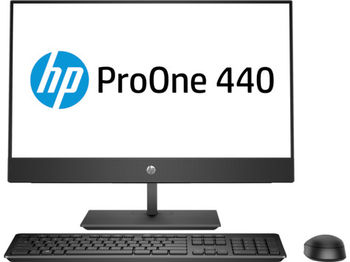 "All-in-One PC - 23.8"" HP ProOne 440 G4 FullHD IPS, Intel® Pentium® G5400T 3,1 GHz, 8GB DDR4 RAM, 128GB SSD+1TB HDD, DVD-RW, CR, Intel® UHD 630 Graphics, FullHD webcam, Fixed Tilt Stand, Wi-Fi/BT5, GigaLAN, 120W PSU, FreeDOS, USB KB/MS, Black"