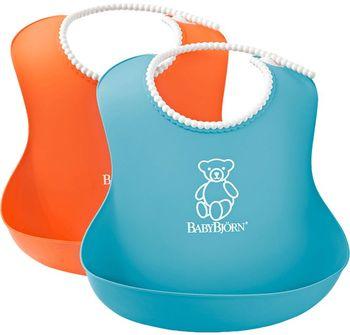купить Комплект нагрудников BabyBjorn Soft Bib Orange/Turquoise, 2 шт. в Кишинёве