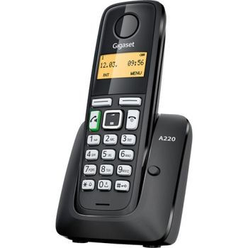 """DECT/GAP Phone Gigaset A220 Black, handset + analog base station/charger,Alphanumeric B/W illuminated TFT 1.4"""", AOH,Caller ID,Handsfree, illuminated keyboard, Standby time up to-200h, Talk time up to-18h, Phonebook # 80, up to 4 handsets,2 x NiMH AAA"""
