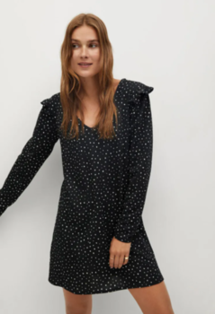 Платье MANGO Чёрный в горошек