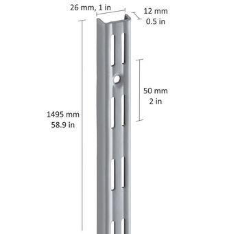 купить Настенные рельсы с 2-рядным слотом 1495 мм, серый в Кишинёве