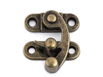 Închizătoare metalică cutie / geantă, alamă antică
