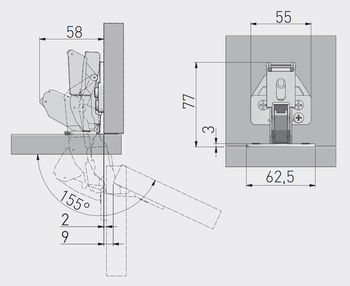 Balama 155° cu amortizor 3D GTV