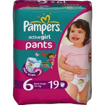 Pampers active girl- подгузники трусики 6 (16+ kg) (19 шт.)