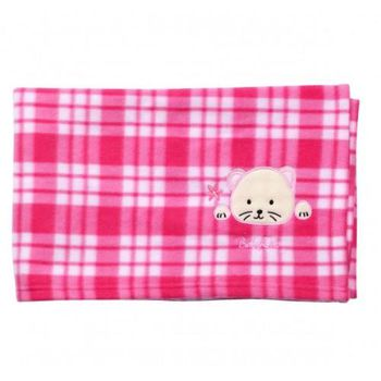 Babyono Одеяло флисовое в розовую клетку (90х110 см)