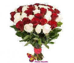 купить Букет из 25 Красно-белых роз в Кишинёве
