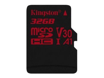32GB microSD Class10 UHS-I U3 (V30)  Kingston Canvas React, Ultimate, 633x, Read: 100Mb/s, Write: 70Mb/s, Water/Shock and vibration/Temperature proof, Protected from airport x-rays
