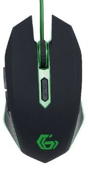 Gembird MUSG-001-G, Gaming Optical Mouse, 2400dpi adjustable, 6 buttons,  Illuminated scroll wheel, logo and side accents; Non-slip rubberized ergonomic design, Practical tangle free nylon mesh cable, USB, Black-Green