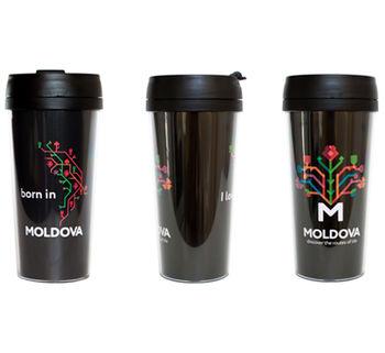купить Кружка-термо – born in Moldova (black) в Кишинёве