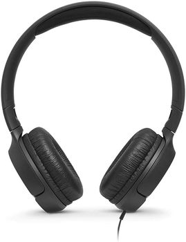 JBL TUNE 500 / On-ear Headset with microphone, Dynamic driver 32 mm, Frequency response 20 Hz-20 kHz, 1-button remote with microphone, JBL Pure Bass sound, Tangle-free flat cable, 3.5 mm jack, Black