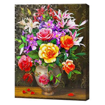 Алмазная мозаика + роспись по номерам 40х50 см букет YHDGJ75471