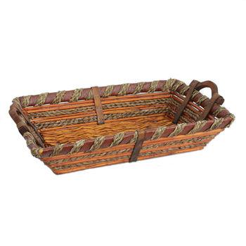 купить Корзина из ивы с деревянными ручками 490х330х100 мм в Кишинёве